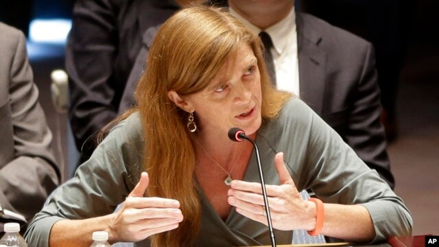 FILE - United States Ambassador to the United Nations Samantha Power