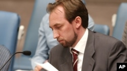 FILE - Jordan's Ambassador to the United Nations, Prince Zeid Al-Hussein, addresses the U.N. Security Council.