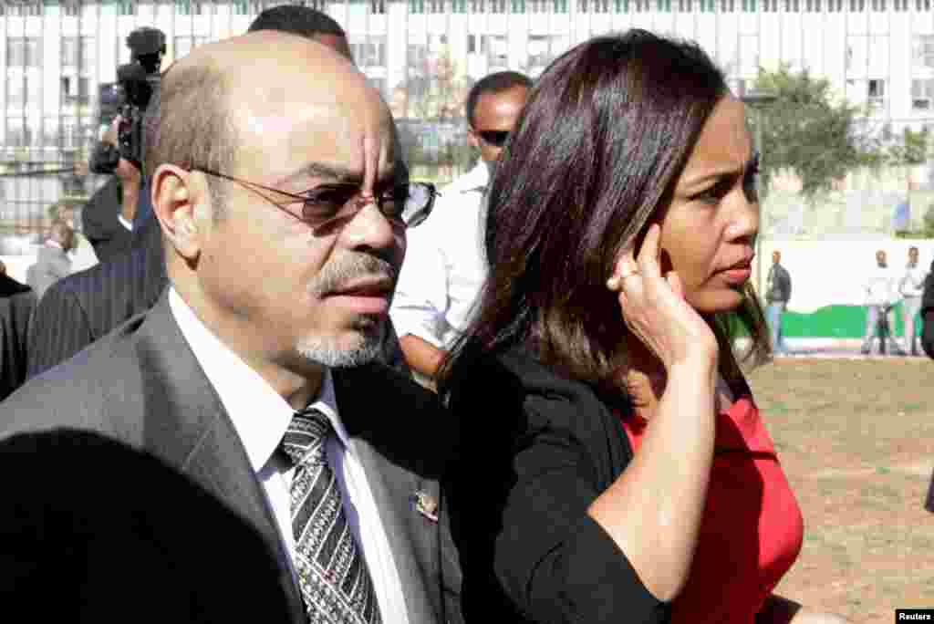 The late Ethiopian Prime Minister Meles Zenawi arrives with his wife Azeb Mesfi for the 18th African Union Summit in Addis Ababa, January 29, 2012.