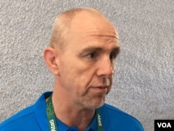 "Mark Egan, World Rugby's head of competitions and performance, thinks the coverage in Rio will lead to ""a huge upsurge of interest"" in women's rugby sevens, Aug. 6, 2016. (P. Brewer/VOA)"