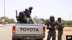lLes forces de sécurité déployées à Ouagadougou en avril suite une grogne des commrçants dont les magasins avaient été pillés par des soldats