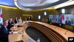 PM Australia Scott Morrison melakukan diskusi virtual dengan pemimpin AS, Jepang dan India 13 Maret 2021 lalu (foto: dok). Ke-4 pemimpin akan bertemu di Washington DC Jumat 24/9.