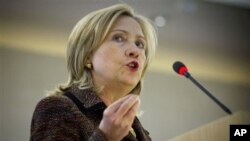 US Secretary of State Hillary Clinton speaking at the Human Rights Council in Geneva, February 28, 2011