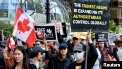 2019年9月加拿大温哥华市一些人声援香港反送中运动(路透社)