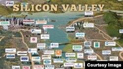 科技公司在美国硅谷的分布图