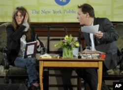 Musician Patti Smith discusses her new book 'Just Kids' with Paul Holdengraber at the New York Public Library on April 29, 2010.