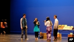 Students at a rehearsal, about a Cambodian family living in Long Beach, California.