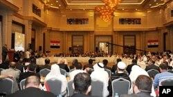 Ông Haitham Al Maleh phát biểu ở Istanbul trong 1 cuộc họp để thảo luận về thay đổi dân chủ ở Syria, 16/7/2011