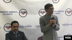 A senior CNRP official, Prince Sisowath Thomico speaks at a forum organized by Cambodian American Alliance in Vienna, Virginia, on Saturday, Jan 21, 2017. (Sok Khemara/VOA Khmer)