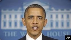 29일 미 플로리다주 유세를 취소하고 백악관에서 허리케인 샌디 관련 긴급 기자회견을 가진 바락 오바마 대통령.
