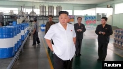 북한 노동신문은 지난 5일 김정은 국방위원회 제1위원장이 평양의 '천지윤활유공장'을 시찰했다고 전했다.