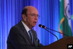 FILE - U.S. Commerce Secretary Wilbur Ross speaks at the 11th Trade Winds Business Forum and Mission hosted by the U.S. Department of Commerce, in New Delhi, India, May 7, 2019.