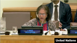 FILE - Special Rapporteur Asma Jahangir delivers her report on the human rights situation in Iran. New York, Oct. 25, 2017. (UN webcast)