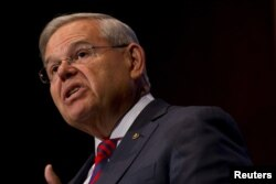 FILE - U.S. Senator Bob Menendez (D-NJ) speaks at Seton Hall University in South Orange, New Jersey, Aug. 18, 2015.