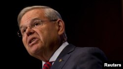 FILE - U.S. Senator Bob Menendez, a New Jersey Democrat, pictured in August 2015 in South Orange, New Jersey, has introduced legislation that would protect U.S. citizens and residents from detention on the basis of racial profiling by immigration agents.