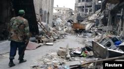 16일 시리아 알레포에서 내전으로 파괴된 거리.