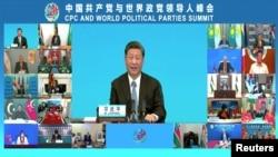中共領導人習近平在中國共產黨與世界政黨領導人視頻峰會上講話。(2021年7月6日)