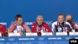 Alexander Ovechkin and Vladislav Tretiak, President of the Russian Ice Hockey Federation, speak to the media in Sochi, Feb. 12, 2014. (Jon Spier/VOA)