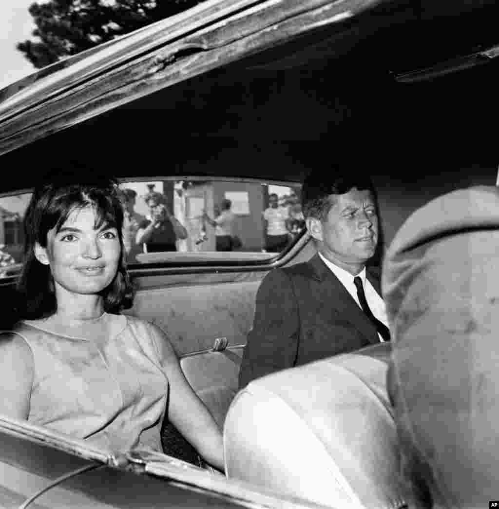 Jacqueline Kennedy and U.S. President John F. Kennedy are shown in the backseat of a car as they leave Otis Air Force Base Hospital, Ma., Aug. 14, 1963. One week ago, the first lady gave birth to their premature son, Patrick Bouvier Kennedy, who died two