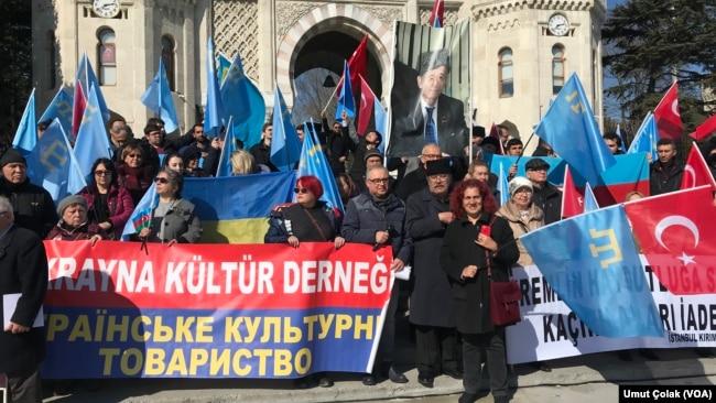 资料照:克里米亚人在土耳其伊斯坦布尔抗议俄罗斯政府。