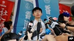 Pro-democracy activist Joshua Wong speaks to media at a court in Hong Kong, May 16, 2019.
