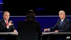 معاونین نامزدان ریاست جمهوری امریکا در مناظره بیشتر از نامزدان ریاست جمهوری مربوطه خود دفاع کردند