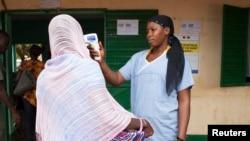 医务人员给一名想要从几内亚进入马里的人测量体温