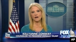 "FILE - This frame grab from video provided by Fox News shows White House adviser Kellyanne Conway during an interview on ""Fox and Friends,"" Feb. 9, 2017, in the briefing room of the White House in Washington. Conway defended Ivanka Trump's fashion company, telling Fox News that Trump was a ""successful businesswoman"" and people should give the company their business."