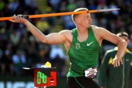 Eugene, Oregon's Cyrus Hostetler is a favorite to make the U.S. Olympic team in javelin.
