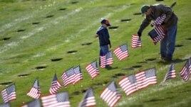 Ông Joseph Manning và con trai Joey, 6 tuổi, cắm cờ Mỹ tại ngôi mộ của các cựu chiến binh tại Nghĩa trang Quốc gia ở Bourne, Massachusetts, ngày 10/11/2012.