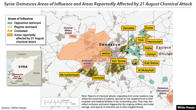Syria: Damascus Areas of Influence and Areas Reportedly Affected by 21 August Chemical Attack