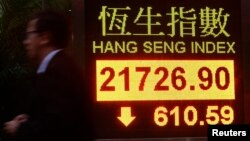 5일 중국발 조류독감 사태로 인해 홍콩의 항셩지수가 떨어지고 있다. 항셩지수는 중국 증시의 대표적인 지표이다.