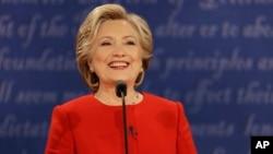 Democratic presidential nominee Hillary Clinton speaks during the presidential debate with Republican presidential nominee Donald Trump at Hofstra University in Hempstead, N.Y., Sept. 26, 2016.