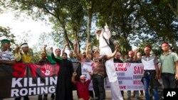کوالالمپور میں روہنگیا مسلمانوں پر میانمر حکومت کے مطالم کے خلاف مظاہرہ۔ 4 دسمبر 2016