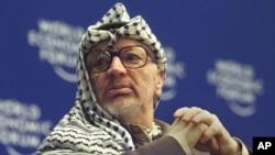 Nhà lãnh đạo quá cố của Palestine Yasser Arafat tại Diễn đàn Kinh tế Thế giới ở Davos, Thụy Sỹ, 31/1/2000.