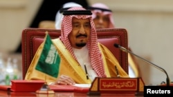 FILE - Saudi Arabia's King Salman bin Abdulaziz Al Saud is seen at a Gulf Cooperation Council summit at Sakhir Palace, near Zallaq, Bahrain, Dec 7, 2016.