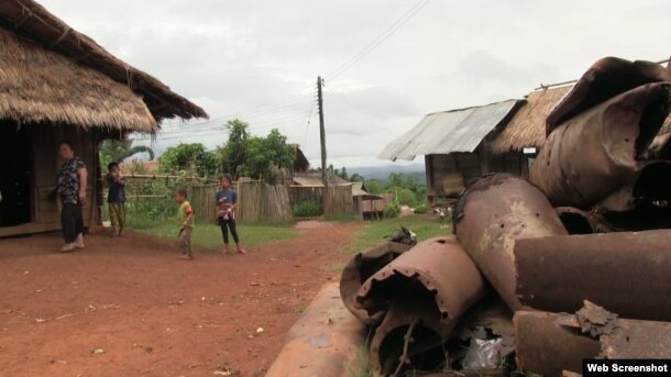 A pile of unexploded ordinance is a feature of everyday life in the villages of Laos' Northeastern Xieng Khoung Province.