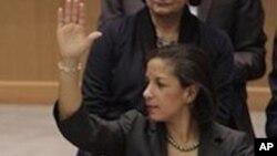 리비아 제재안에 찬성을 표하는 유엔주재 미국 대사