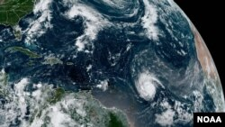 This NOAA satellite image from Sept. 24, 2021, shows hurricane Sam swirling in the southern Atlantic.
