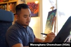 Kwanchai Moriya, a Thai-Japanese boardgame illustrator, at his studio in Monrovia, CA