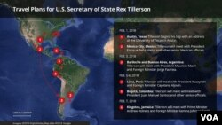 U.S. Secretary of State Rex Tillerson has begun a trip to Latin America.