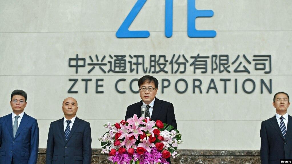 中兴通讯公司董事长殷一民2018年4月20日在中国广东省深圳市中兴通讯总部的新闻发布会上发表讲话。