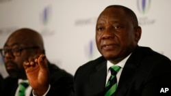 Deputy President of South Africa Cyril Ramaphosa speaks at a press conference in London, Sept. 25, 2017, after helping to present his country's bid for the 2023 Rugby World Cup.
