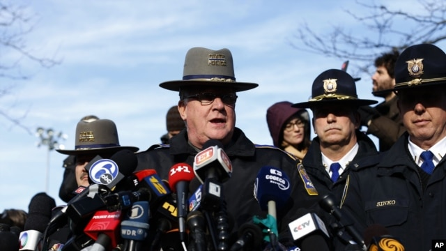 Lt. J. Paul Vance of the Connecticut State Police conducts a news briefing, Saturday, Dec. 15, 2012 in Newtown, Connecticut.
