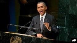 Tổng thống Barack Obama phát biểu tại Hội nghị Thượng đỉnh phát triển của Liên hiệp quốc hôm Chủ nhật, ngày 27 tháng 9, 2015.