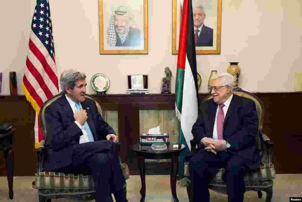 ABŞ dövlət katini fələstinlilərin prezidenti Mahmud Abbasla görüşür - Əmman, 28 iyun, 2013