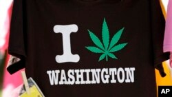 A T-shirt is displayed at the first day of Hempfest, Seattle, Washington, Aug. 16, 2013.