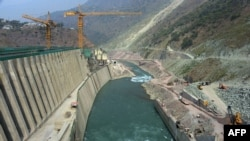 FILE - This photograph taken Oct. 31, 2017, shows a general view of the Neelum-Jhelum Hydropower Project in Nosari, in Pakistan-administered Kashmir's Neelum Valley.
