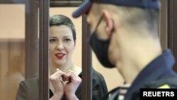 2021년 9월 6일 벨라루스 반정부 인사 마리야 콜레스니코바 씨가 법정에 출두했다.
