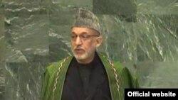 25일 유엔 총회에서 연설 중인 하미드 카르자이 아프가니스탄 대통령.